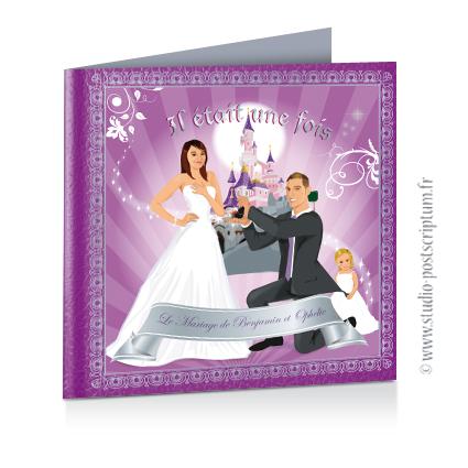 Faire-part de mariage original avec enfant – dessin d'après photos. Thème princesse – il était une fois violet Annonce du mariage faite par un enfant