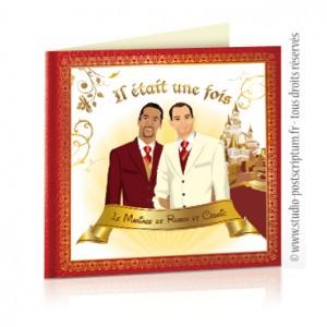 Faire-part de mariage gay et lesbien original - thème prince charmant Il était une fois