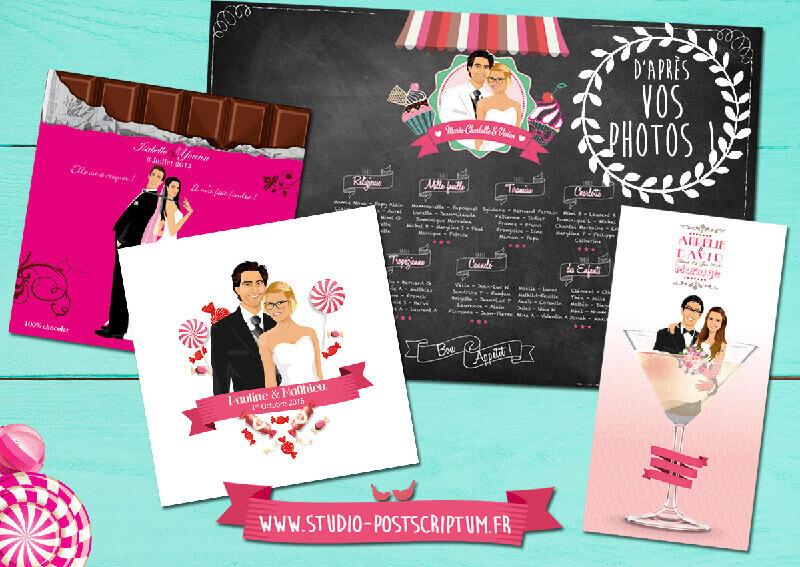 Faire-part de mariage original gourmandise bonbon chocolat candybar dessin d'après vos photos : faire-part originaux gourmand