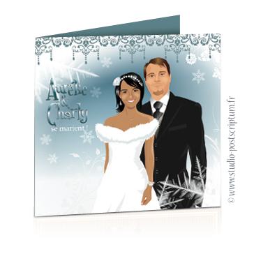 Faire-part de mariage original romantique – mariage en hiver Couple sur fond de paysage hivernal enneigé et flocons de neige sobre et chic