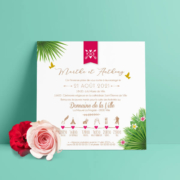 Faire-part de mariage original voyage – dessin d'après photos. Couple de mariés – île tropical avec plantes et fleurs exotiques Mariage chic – blanc et doré