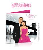 Faire-part de mariage original romantique – dessin d'après photos Couple de mariés à New-York – noir blanc et rose fuschia avec le pont de Brooklyn et les gratte-ciel – Rétro – vintage – chic – drôle