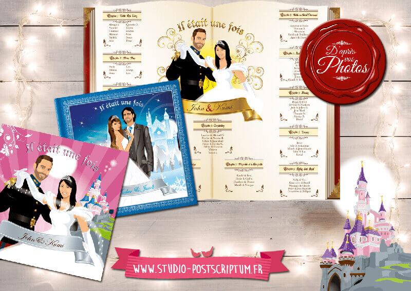 Faire-part de mariage original princesse il était une fois cendrillon dessin d'après vos photos : faire-part originaux conte fées