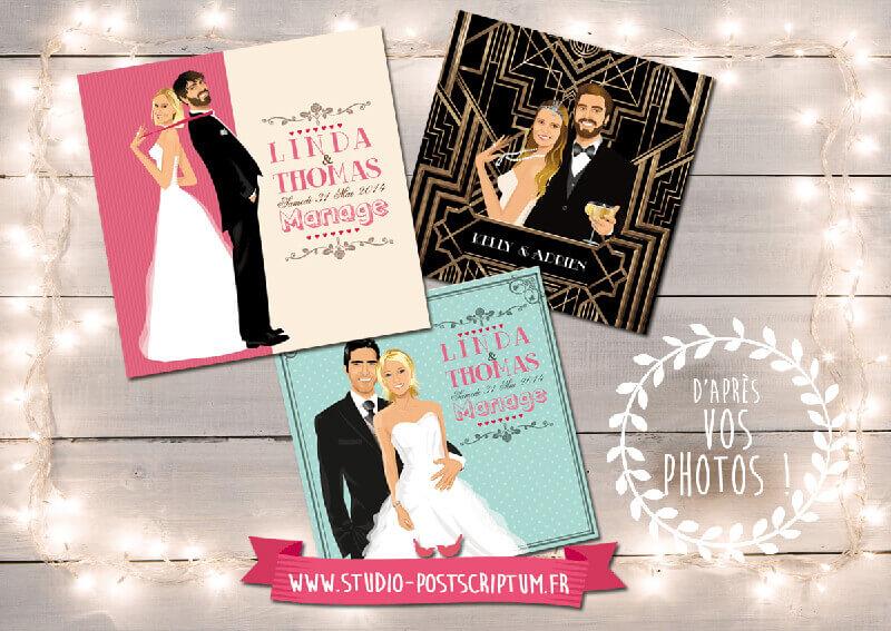 Faire-part de mariage original rétro vintage années 20 années folles dessin d'après vos photos : faire-part originaux vintage poudré
