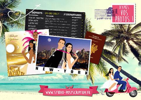 Faire-part de mariage original voyage aéroport passeport boarding dessin d'après vos photos : faire-part originaux île New-York Paris