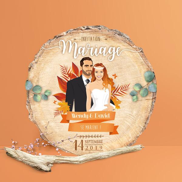 Faire-part de mariage original – thème automne Couple sur fond bois nature champêtre – bois et feuilles Impression sur papier – forme de découpe
