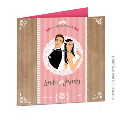 Faire-part de mariage original trendy et romantique - Bohème chic Couple dentelle sur fond kraft nature champêtre - rétro vintage blanc et vieux rose poudré Bobo chic - Hippy chic