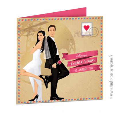 Faire-part de mariage vintage original romantique - Bohème chic - voyage sur fond kraft - rétro vintage