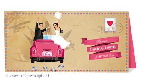 Faire-part de mariage original trendy et romantique - Bohème chic Couple et voiture just married sur fond enveloppe kraft - rétro vintage crème rose voyage - Bobo chic - Hippy chic