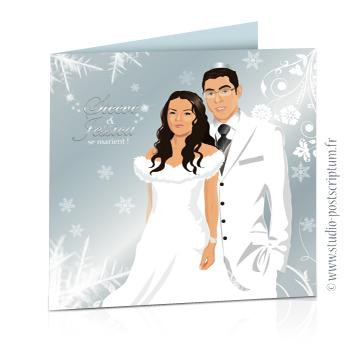 Faire-part de mariage original romantique – dessin d'après photos. Couple sur fond neige et bleu argenté Rétro – vintage – chic – sobre
