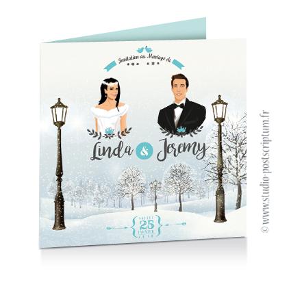 Faire-part de mariage hivernal romantique hiver – dessin d'après photos. Couple sur fond nature romantique neige – blanc et bleu Vintage rétro Sobre et chic