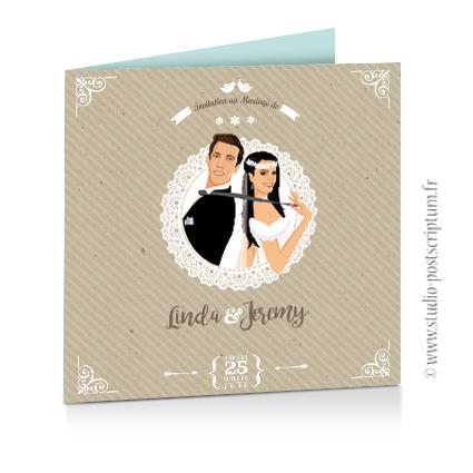 Faire-part de mariage hivernal romantique hiver – dessin d'après photos. Couple sur fond nature romantique kraft blanc neige et bleu glace poudré avec dentelle Vintage – Sobre et chic