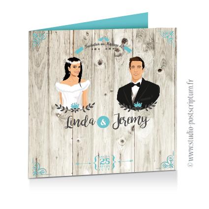Faire-part de mariage hivernal romantique hiver – dessin d'après photos. Couple sur fond nature romantique bois blanc neige bleu et gris Vintage – Sobre et chic