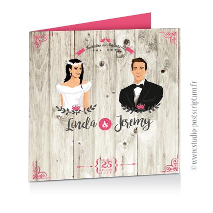 Faire-part de mariage hivernal romantique hiver – dessin d'après photos. Couple sur fond nature romantique bois blanc neige rose et gris Vintage – Sobre et chic