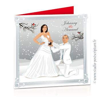 Faire-part de mariage hivernal romantique hiver – dessin d'après photos. Couple sur fond nature romantique blanc neige et gris rouge branche oiseau Vintage – Sobre et chic