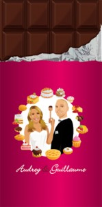 Faire-part de mariage original dessin d'après photos. Thème gourmandise - tablette chocolat - rose fushia gâteaux pattisseries