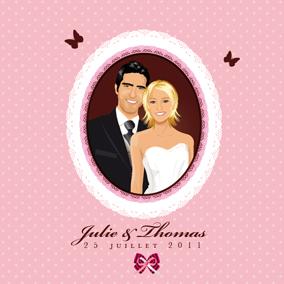 Faire-part de mariage original dessin d'après photos. Thème gourmandise - napperons - rose poudré gâteaux pâtisseries rétro