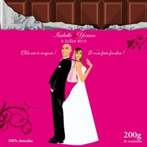 Faire-part de mariage original dessin d'après photos. Thème gourmandise - tablette chocolat - rose fushia gâteaux pâtisseries carré