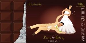 Thème gourmandise - tablette chocolat - chocolat, crème et vert - humour drôle comique décalé original wedding card chocolate original save the date chocolate