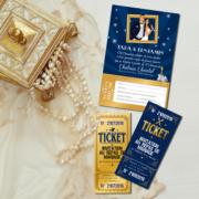 invitation mariage thème cinéma chic bleu et or - ticket de cinéma doré - coupon réponse Mariage cinéma - oscars chic © www.studio-postscriptum.fr