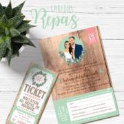 Coupon - invitation au repas de mariage style vintage rétro - effet bois champêtre - vert tendre pastel Ticket cinéma vintage champêtre