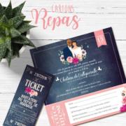 invitation coupon repas et ticket repas vintage sur fond ardoise avec fleurs champêtre et des touches de rose poudré et de vert mint pour un mariage à la campagne chic et rétro