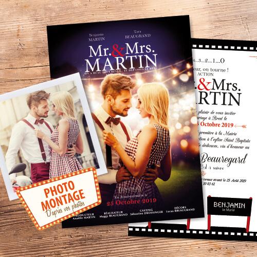 Faire-part de mariage affiche de cinéma original photo montage d'après photos. style rétro vintage magique romantique