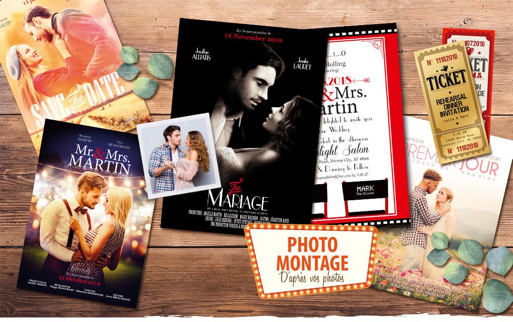 Faire-part de mariage affiche de cinéma original photo montage d'après photos. style rétro vintage
