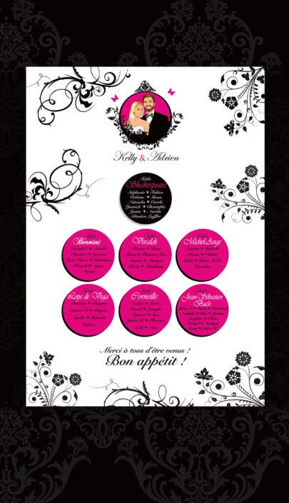 plan de table salle mariage original thème baroque noir blanc et fuschia avec lustres et voluptes. Portraits dessin caricature - chic vintage et romantique.