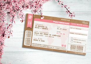Mariage bohème champêtre nature - Faire-part, invitation billet d'avion, thème campagne rustique avec kraft, dentelle et pois rose pâle. chic vintage et romantique.