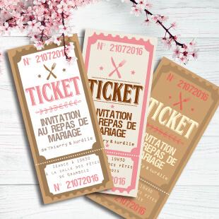Mariage bohème champêtre nature - Faire-part, invitation ticket cinéma, menu thème campagne rustique avec kraft, dentelle et pois rose pâle. chic vintage et romantique.