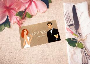 Mariage bohème champêtre nature - marque-place, nominette thème campagne rustique avec kraft, dentelle et pois rose pâle. Portraits dessin caricature - chic vintage et romantique.