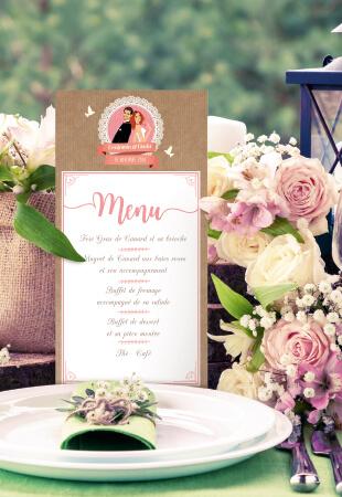 Mariage bohème champêtre nature - menu thème campagne rustique avec kraft, dentelle et pois rose pâle. Portraits dessin caricature - chic vintage et romantique.