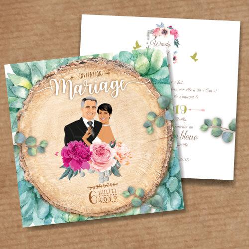 Faire-part de mariage original – fond rondelle de bois Couple sur fond bois nature champêtre – fond feuilles