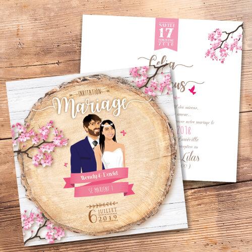 Faire-part de mariage original – fond rondelle de bois Couple sur fond bois nature champêtre – fleurs de cerisiers