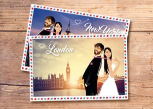 faire part invitation de mariage new-york londres paris rome venise sous forme de carte postale rétro vintage airmail - dessin des mariés original romantique chic et élégant