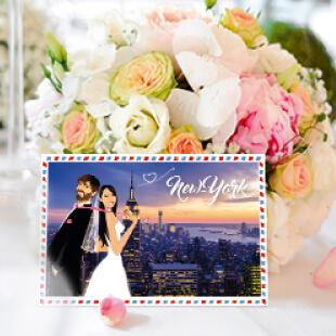 faire part invitation de mariage new-york plage mer sous forme de carte postale rétro vintage airmail - dessin des mariés original romantique chic et élégant
