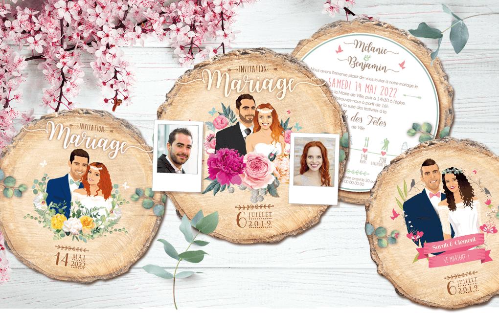 Faire-part de mariage original – fond rondelle de bois Couple sur fond bois nature champêtre