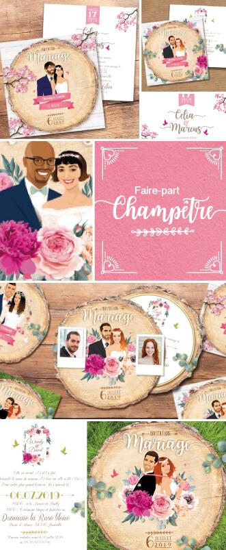 Une tranche d'Amour…. Voici quelques exemples de faire-part de mariage champêtre et rustique sous forme de rondelles de bois