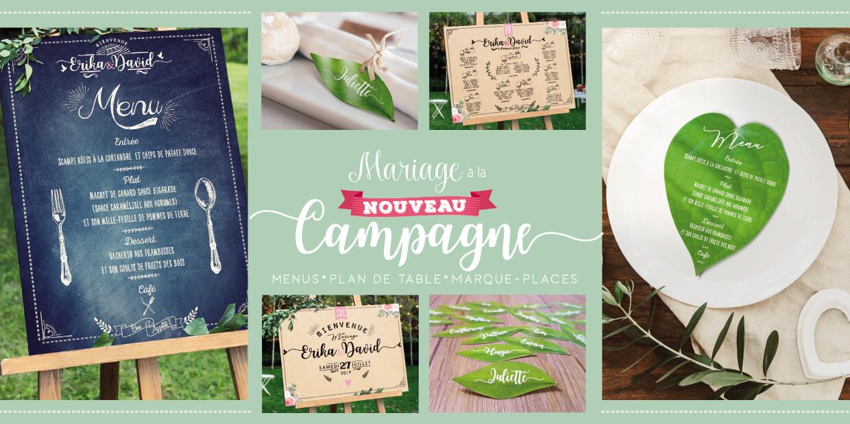 Collection Mariage à la campagne - plan de table, panneau, marque-places et menus champêtre nature campagne chic original
