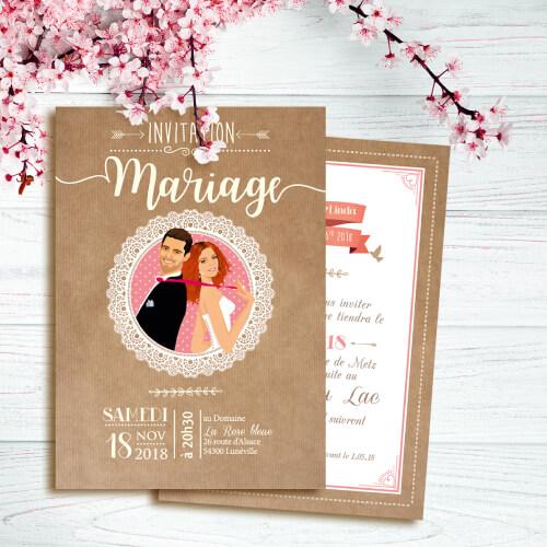 Faire-part mariage original thème nature bohème champêtre avec papier kraft dentelle et pois. Invitation chic vintage et romantique sur kraft rose et blanc.