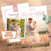 Faire-part de mariage affiche de cinéma original photo montage d'après photos. style rétro vintage bohème champêtre romantique