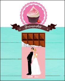 Faire-part de mariage original gourmandise chocolat bonbon candybar et cupcake romantique vintage poudré pois Faire-part, invitation, carton repas, save the date, menu, plan de table, coupon réponse - Portraits dessin caricature - chic vintage et romantique
