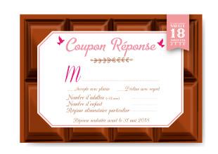Mariage chocolat original - Invitation tablette coupon réponse - gourmandise - chic vintage et romantique