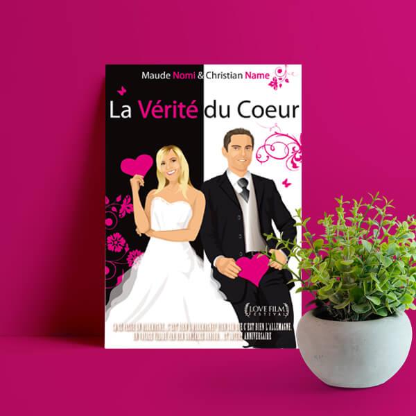 faire-part de mariage thème cinéma chic noir et blanc avec touche de rose - affiche de film de cinéma - Mariage cinéma chic © www.studio-postscriptum.fr