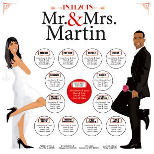 mariage plan de table salle original thème cinéma affiche film mr and mrs smith hollywood - marque-place. Portraits dessin caricature d'après photos - chic vintage retro et romantique.