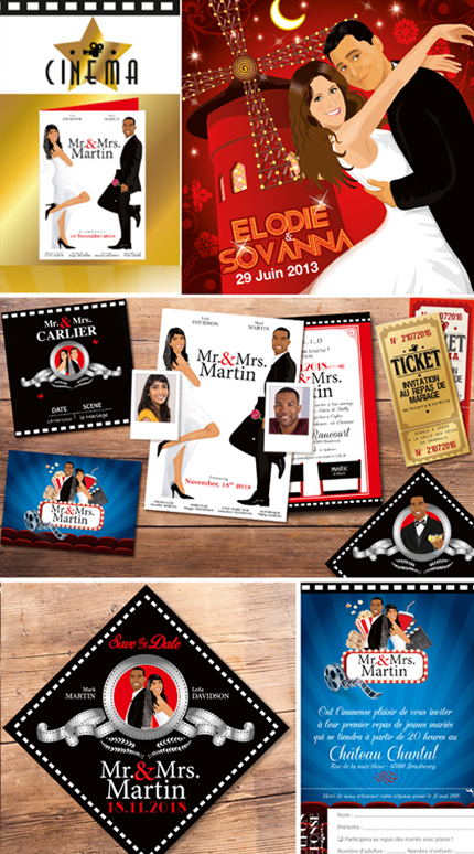 mariage cinéma faire-part original affiche film mr and mrs smith hollywood. Faire-part, invitation, carton repas, save the date, menu, plan de table, coupon réponse avec walk of fame star mr & mrs smith . Portraits dessin caricature - chic vintage et romantique. © www.studio-postscriptum.fr