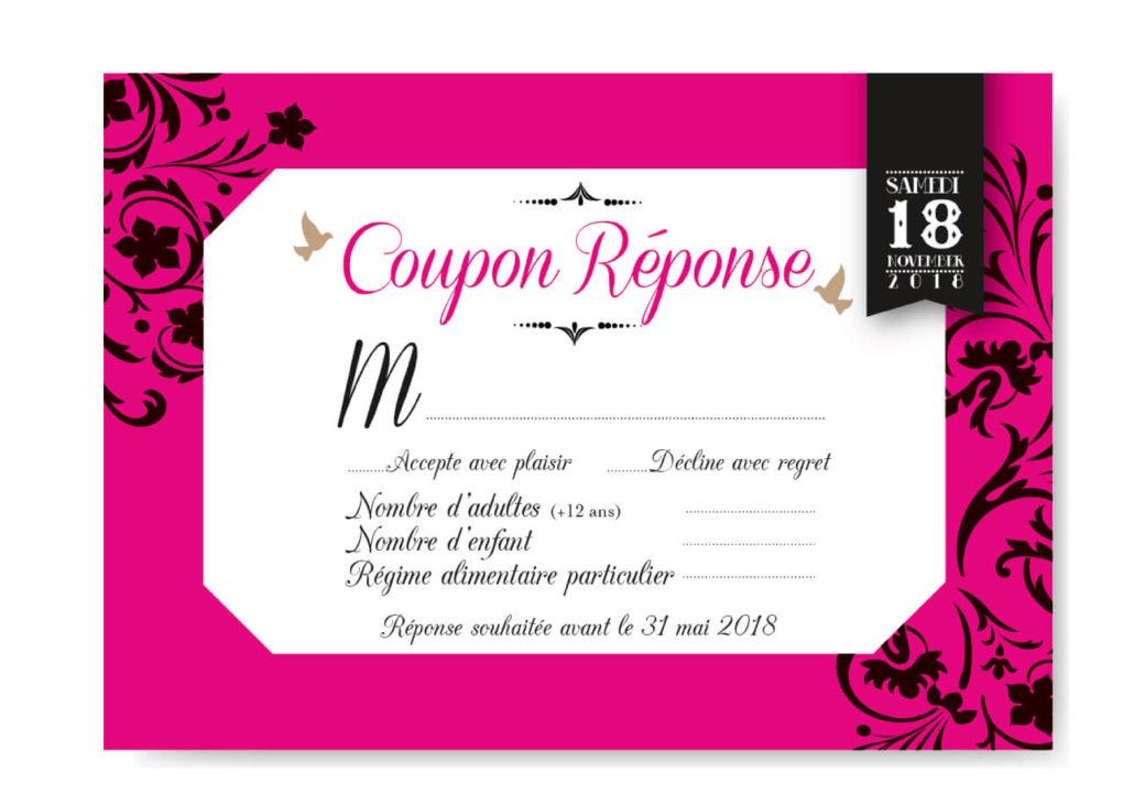 mariage original coupon invitation réponse thème baroque noir blanc et fuschia avec lustres et voluptes. chic vintage rétro et romantique.
