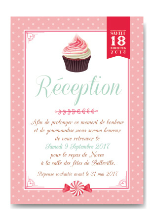 Mariage - Invitation coupon réponse tablette chocolat original - gourmandise - chic vintage et romantique bonbon candybar et cupcake romantique vintage poudré pois