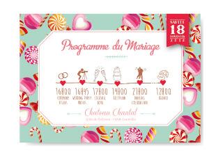 Mariage - Invitation coupon réponse bonbons timeline programme de la journée de mariage original - gourmandise - chic vintage et romantique bonbon candybar et cupcake romantique vintage poudré pois
